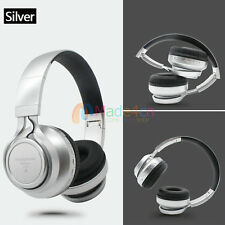 Sliver -MD76 FM Bluetooth Headphone Stereo Headset Earphone For Call Phone Apple