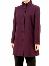 Womens Ladies EASTEX Purple Plum Wool Cashmere Long Jacket Coat Size 16 18 20