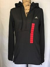 NEW Adidas Womens 1/4 Zip Trans Hoodie Pullover Jacket - Thumb Slit - Black -NWT
