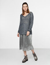 YERSE BLUE & SILVER METALICISED CHUNKY KNIT OVER SIZED V NECK JUMPER M,XL £75