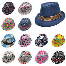 YH New Toddler Kid Baby Fedora Hat Jazz Cap Photography Cotton Trilby Top Cap