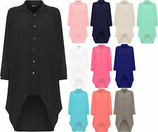Ladies Womens Button Hi Lo Long Sleeve Collared Chiffon Shirt Dress Top 12-18
