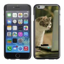 Hard Phone Case Cover Skin For Apple iPhone Cat staring at computer