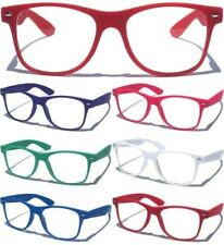 Rubber Coated Frame Clear Lens Glasses Classic 80's Design Retro Nerd Color