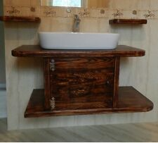 Solid wood basin vanity unit wooden wash stand rustic cabinet.
