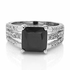 Genuine Sterling Silver Black CZ Princess Cut Clear CZ Engagement Ring Size 5-10