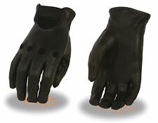 Women's Premium Leather Unlined Driving Gloves, Black - Perforated Knuckles