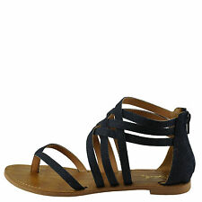 Qupid Athena 566 Blue Denim Women's Strappy Gladiator Thong Sandal