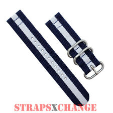 PREMIUM ZULU® 2 Piece NAVY WHITE Military Divers watch strap band Nylon 3 Ring
