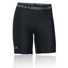 Under Armour HeatGear Womens Black Compression Gym Shorts Work Out Pants Bottoms