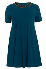 Womens Plus Size Embellished Cut Out Swing Dress