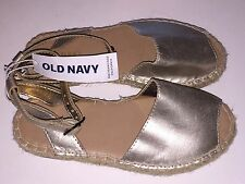 Girl's Old Navy Gold & Tweed Ankle Strap Sandals, Size 11