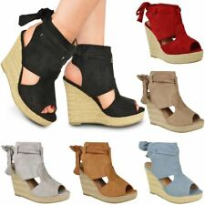 Womens Ladies Summer Sandals High Heels Peep Toe Wedges Tie Up Party Shoes Size