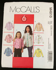Girls Semi-Fitted Shirt McCalls Pattern M4910 6 Styles Select Size 3-6 or 7-12