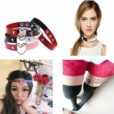 Chain Fashion Funky Punk Rivet Goth Collar Choker Necklace Heart Leather