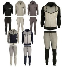 Mens Ribbed Tracksuit Set Fleece Hoodie Hooded Top Bottoms Jogging Joggers Gym