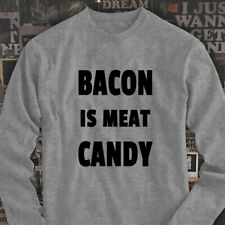 BACON IS MEAT CANDY BREAKFAST FUNNY HUMOR FOOD Mens Gray Long Sleeve T-Shirt
