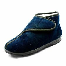 Navy Blue Fur lined adjustable fastening slippers boots MENS