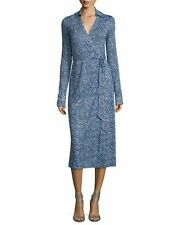 NWT Diane von Furstenberg Cybil Silk Jersey Wrap Dress Beads Peacock $468