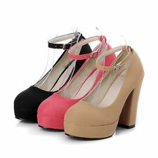 Womens Suede High Block Heels Platforms Ankle Straps Pumps Round Toe Ladys Shoes