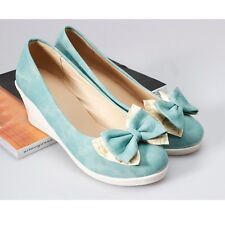 BowKnot Womens Leather Platforms & Wedges High Heels Casual Solid Lady Shoes