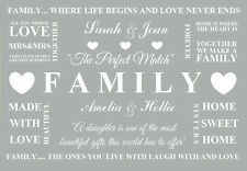 personalised Family Home Grey Word Quotes Canvas Print mrs mrs  picture a3 size