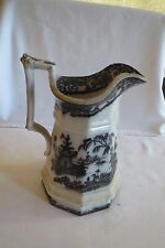 Antique 19th Century English Staffordshire Pottery Jug Brown and White Transfer
