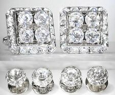 TUXEDO SQUARE CLEAR CRYSTAL CUFFLINKS & ROUND STUDS SET MADE W/AUSTRIAN CRYSTAL
