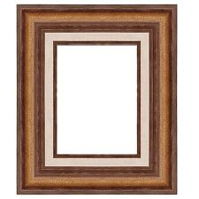 "Eli Frames Upscale Gallery Picture Frame Wood Brown Gold Leaf 2.3/4"" Wide NEW"