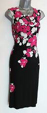 PRECIS Petite Black Pink White Floral Print Jersey Shift Dress UK 10  EU 38  £99