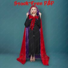 New Lined Purple Velvet Red Cosplay Cloak Cape Wedding Wicca SCA LOTR LARP Goth