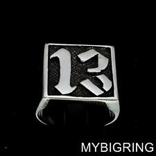 SQUARE SHAPED STERLING SILVER MENS BIKER RING LUCKY NUMBER THIRDTEEN 13 ANY SIZE