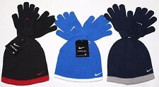 New Nike Boy's Knit 2 piece Hat and Gloves Set Beanie Size 8-20 Youth
