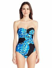 NWT Calvin Klein Tie Dye Bar Bandeau One-Piece Swimsuit Black and Blue Sz 10-16