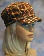 NWT Cadet Cabbie Cap Hat Houndstooth Plaid Distressed Denim One Size Fits Most