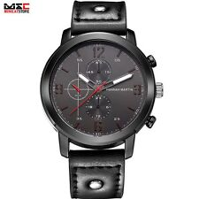 Luxury Military Men's Leather Band Stainless Steel Sport Army Quartz Wrist Watch