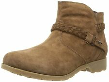 TEVA women DELAVINA SUEDE LEATHER ANKLE BOOTS Zip-Up Strap BISON Brown size 6.5