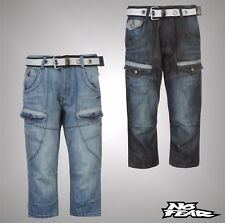 Mens Branded No Fear Loose Fitting Calf Length Cargo Shorts Jeans Size S-XXXXL
