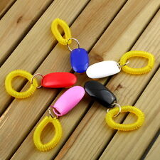 Dog Pet Click Clicker Training Obedience Agility Trainer Aid Wrist Strap GC