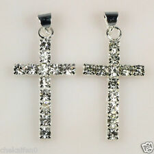 Fashion 10pcs/20pcs Silver Plated Cezch Crystal Rhinestone Cross Charms Pendants