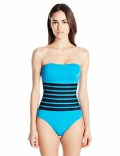 NWT Calvin Klein Mesh Inlet Bandeau Strapless One Piece Swimsuit Blue Size 6-16