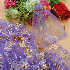 100pcs Beautiful Butterfly Organza Pouches Gift Bags with Drawstring