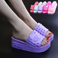 Womens Thicken Sole Peep Toe Slipper Casual Flat Rubber Cartboon Cute Shoes Chic