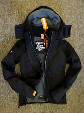 Superdry Womens Windcheater Hooded Quilted lined Jacket coat  Black Grey