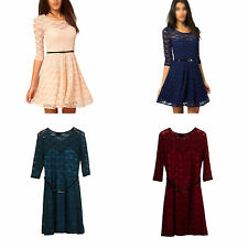 Women Summer Dresses Sexy Spoon Neck 3/4 Sleeve Skater Lace Dress With Belt H2U1