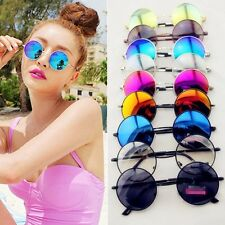 Hot Retro Hippie Lens Silver Frame Round Circle Lens Reflective Sunglasses LLX