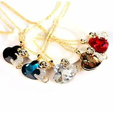 Women Trendy Monkey and Heart Shaped Rhinestone + Alloy Sweater Necklaces LX