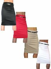 NEW (2347) Pencil Skirt Stretch Sateen + FREE Belt Size 8-18