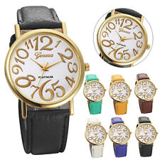 New Women Leather Belt Watch Stainless Steel Dial Quartz Wrist Watch Gift Hot