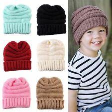 Boys Knit Crochet Cap Winter Warmer Children's Beanie Kids Knitted Wool Hat